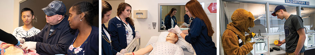 Students in the 3D, Nursing, and Biology Lab.