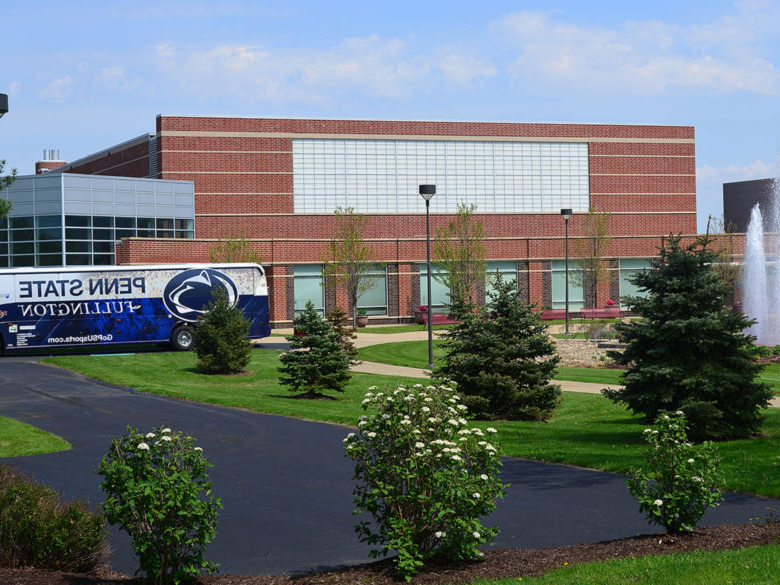 Bus outside of campus